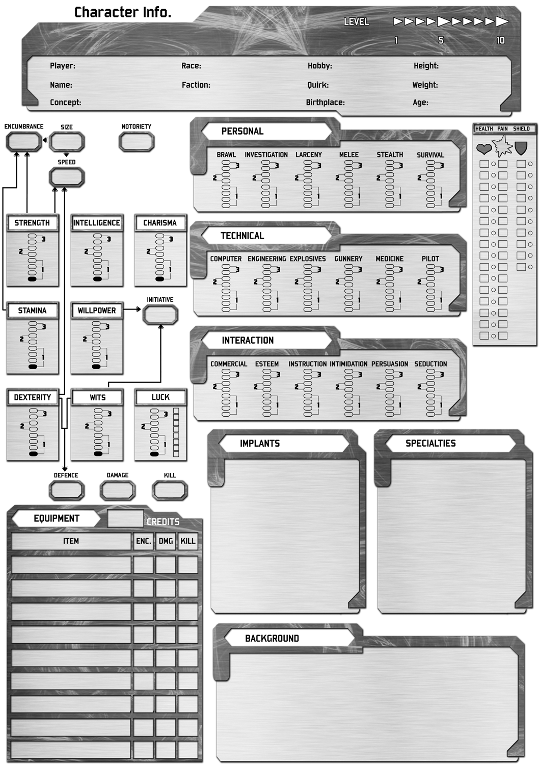 black and white character sheet